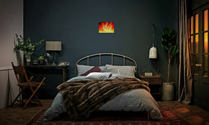 Ruby Fire Phoenix Canvas Print in editorial (bedroom), wrap: white, size: 12x18""