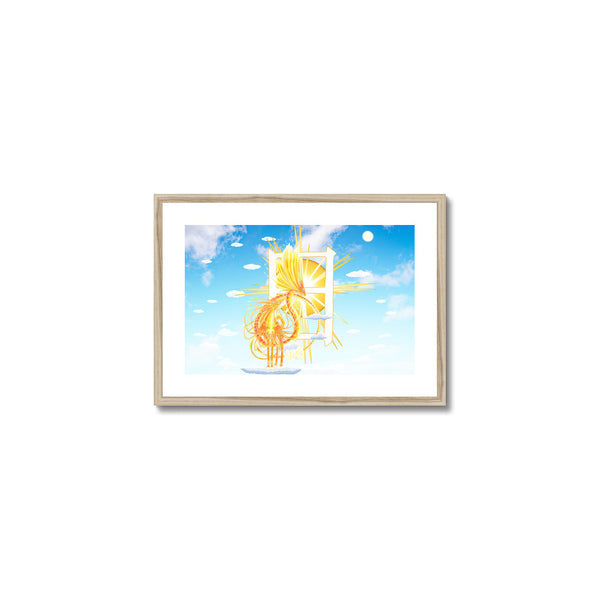 Golden Sun Dragon Framed & Mounted Print in head on, natural frame, mounted, perspex, size: 17x24""