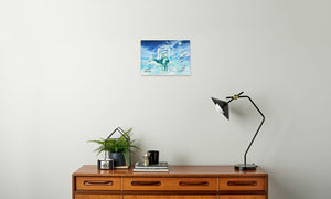 Jade Wind Crane Canvas Print in room (sideboard), wrap: white, size: 12x18""