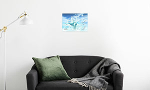 Jade Wind Crane Canvas Print in room (sofa), wrap: white, size: 12x18""