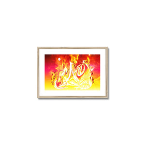 Ruby Fire Phoenix Framed & Mounted Print in head on, natural frame, mounted, perspex, size: 17x24""