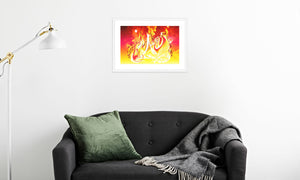 Ruby Fire Phoenix Framed & Mounted Print in room (sofa), white frame, mounted, perspex, size: 17x24""