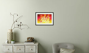 Ruby Fire Phoenix Framed & Mounted Print in room (phone), black frame, mounted, perspex, size: 17x24""