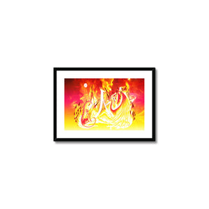 Ruby Fire Phoenix Framed & Mounted Print in head on, black frame, mounted, perspex, size: 17x24""
