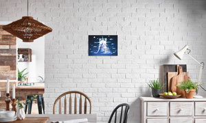 Silver Moon Unicorn Canvas Print in editorial (dining room), wrap: white, size: 12x18""