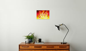 Ruby Fire Phoenix Canvas Print in room (sideboard), wrap: white, size: 12x18""