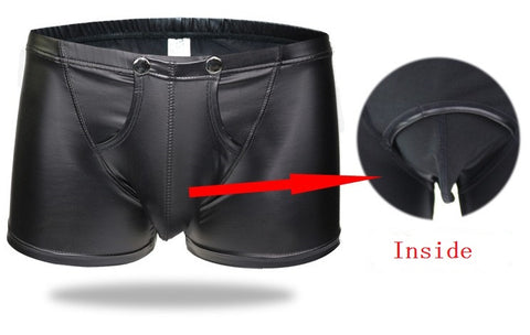 Men's Bulge Pouch Boxer Briefs, Black Vegan Leather - Clothing - BDSM Collar Store