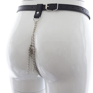 Chain G-String Thong with Black Vegan Leather