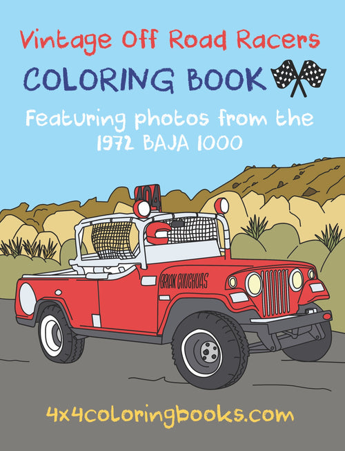 Cover for vintage racing off-road coloring book featuring a red jeepster on the cover