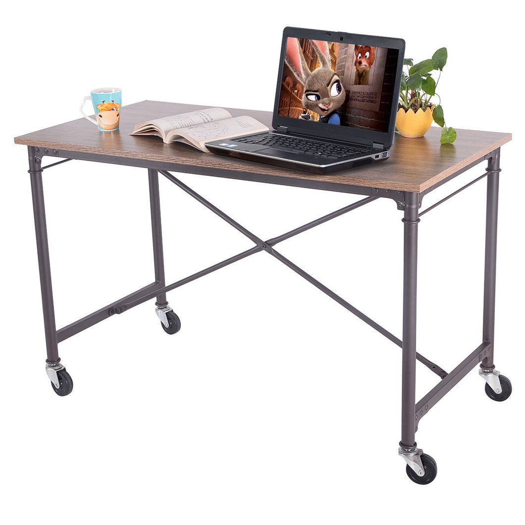 Giantex Computer Desk Laptop Writing Table Wheels Rolling Portable Wood Desk