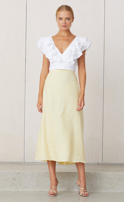 NATURAL MIDI SKIRT - BUTTER