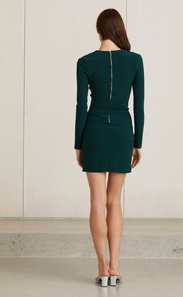VALENTINE L/S MINI DRESS - FOREST