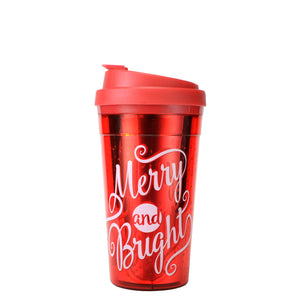 Red / Merry And Bright Reflections 15 Oz Holiday Coffee Mug at Cool Gear Winter Holiday