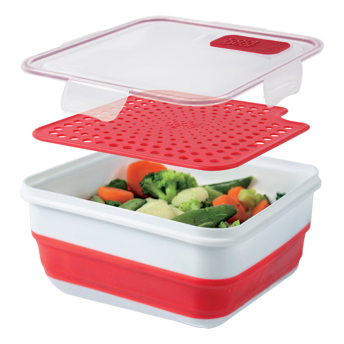 Red Expandable Steamer Food Container at Cool Gear Food Containers