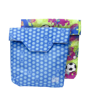 Blue Dots / Green Sports Reusable Sandwich Bags 2-Pk at Cool Gear Lunch Bags