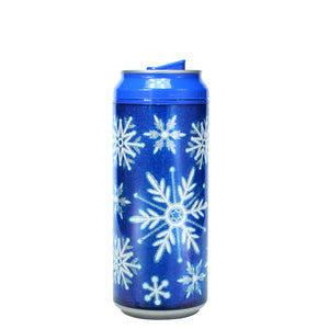 Dark Blue / Snowflake Shake 16 Oz Holiday Glitter coolgearcan at Cool Gear Winter Holiday