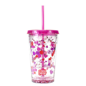 Pink / Hearts And Flowers 20 Oz Valentines Sparkle Chiller at Cool Gear Valentines