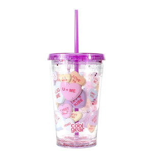 Purple / Conversation Hearts 20 Oz Valentines Sparkle Chiller at Cool Gear Valentines