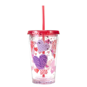Red / Patterned Hearts 20 Oz Valentines Sparkle Chiller at Cool Gear Valentines
