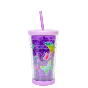 Cool Gear | 12 Oz Easter Printed Chiller Tumbler in Pastel Purple / Butterflies
