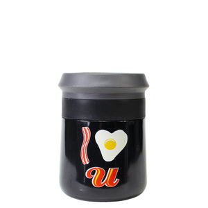 Black / I Love You Breakfast Valentines Stainless Steel Coozie at Cool Gear Valentines
