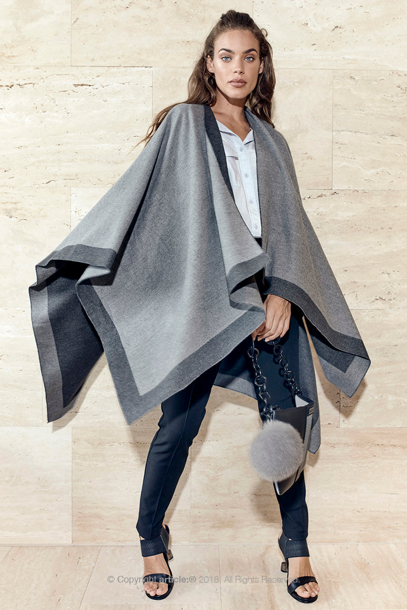 article: #901 Blanket / Cape - Charcoal + Grey Marle