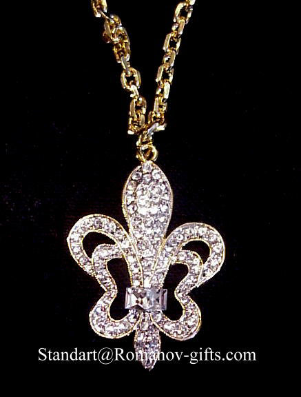 Russian Louis XV Diamond Crystal Fleur de Lis Pendant Necklace
