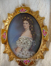 Oil Painting Empress Elizabeth Hapsburg Sisi Miniature Antique Gold Oval Frame