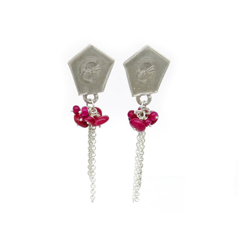 Soldier studs with ruby bead clusters