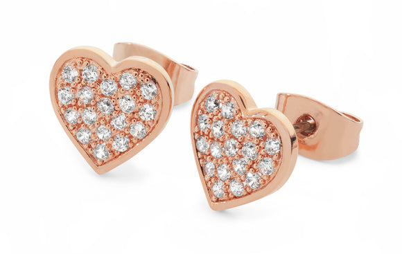 Pave Heart Earrings - Rose Gold