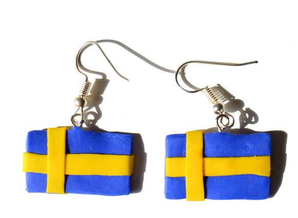 Swedish flags earrings