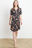 Surplice Elastic Waist Floral Maternity & Nursing Dress