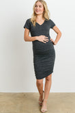 Solid V-Neck Ruched Sides Maternity Midi Dress