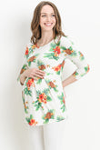 Pineapple Round Neck Pleated Maternity Top