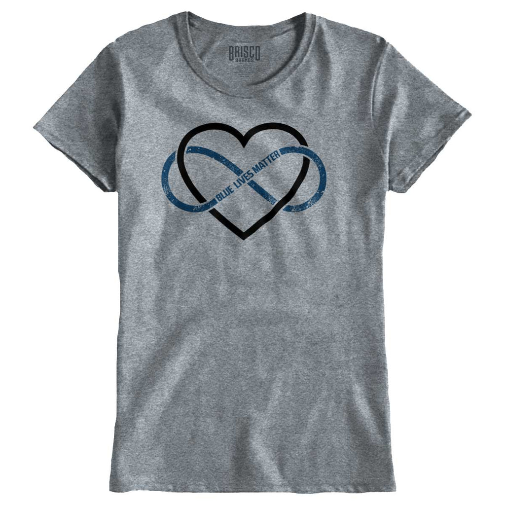 SportGrey|Blue Lives Matter Heart Infinity Ladies T-Shirt|Tactical Tees