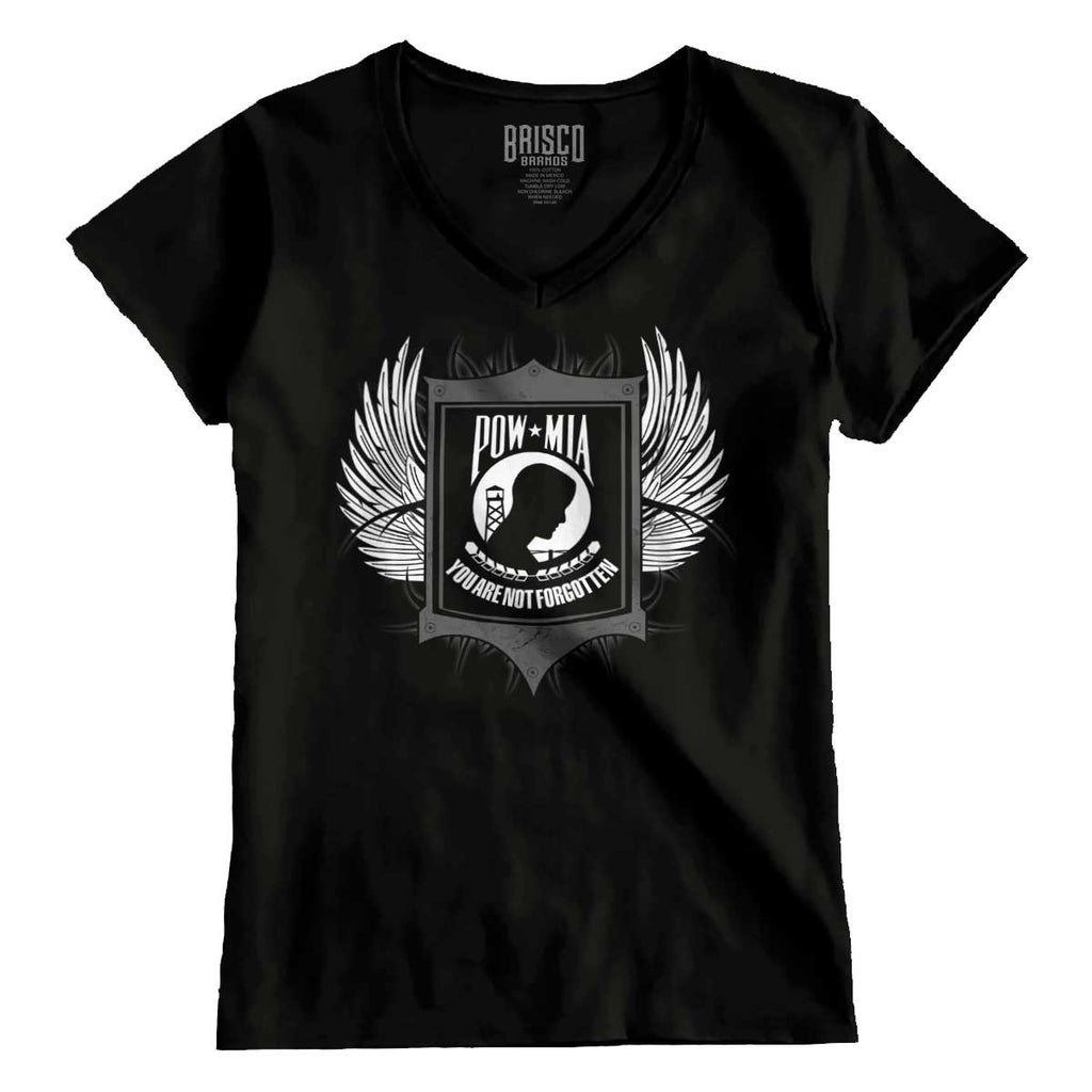 Black|POW MIA You Are Not Forgotten Junior Fit V-Neck T-Shirt|Tactical Tees