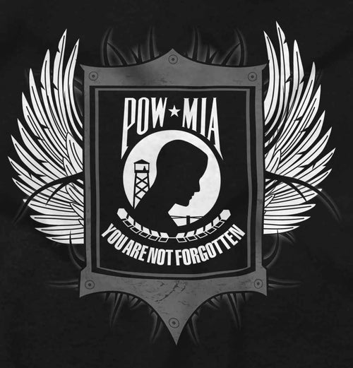 Black2|POW MIA You Are Not Forgotten V-Neck T-Shirt|Tactical Tees