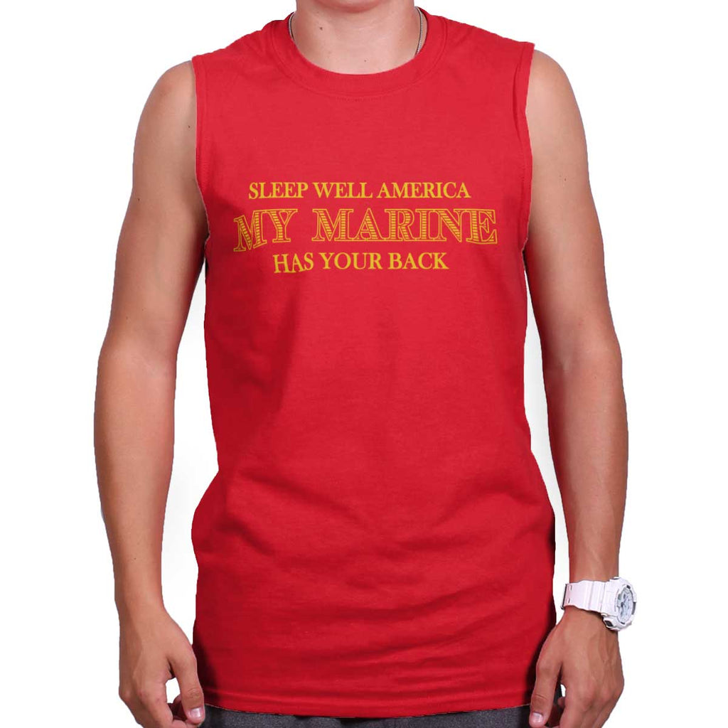 Red|This Marine Has Your Back Sleeveless T-Shirt|Tactical Tees