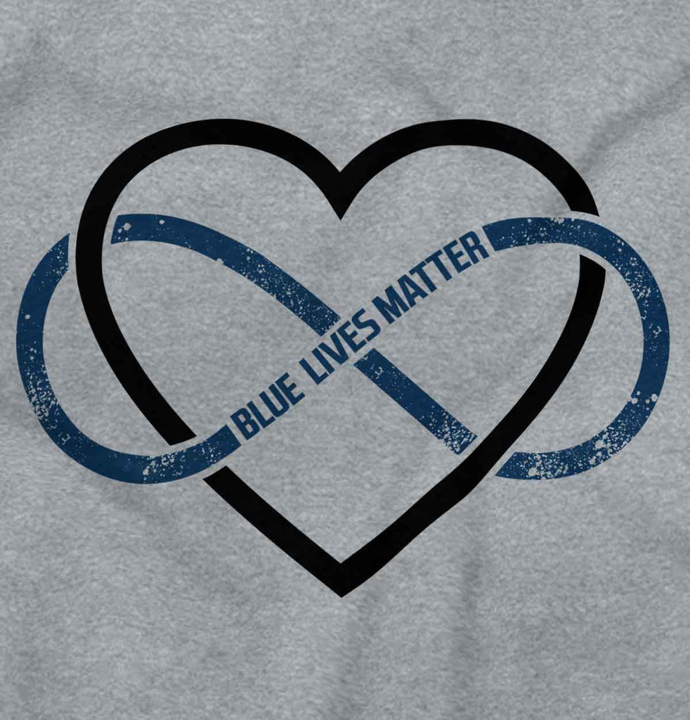 SportGrey2|Blue Lives Matter Heart Infinity Ladies T-Shirt|Tactical Tees