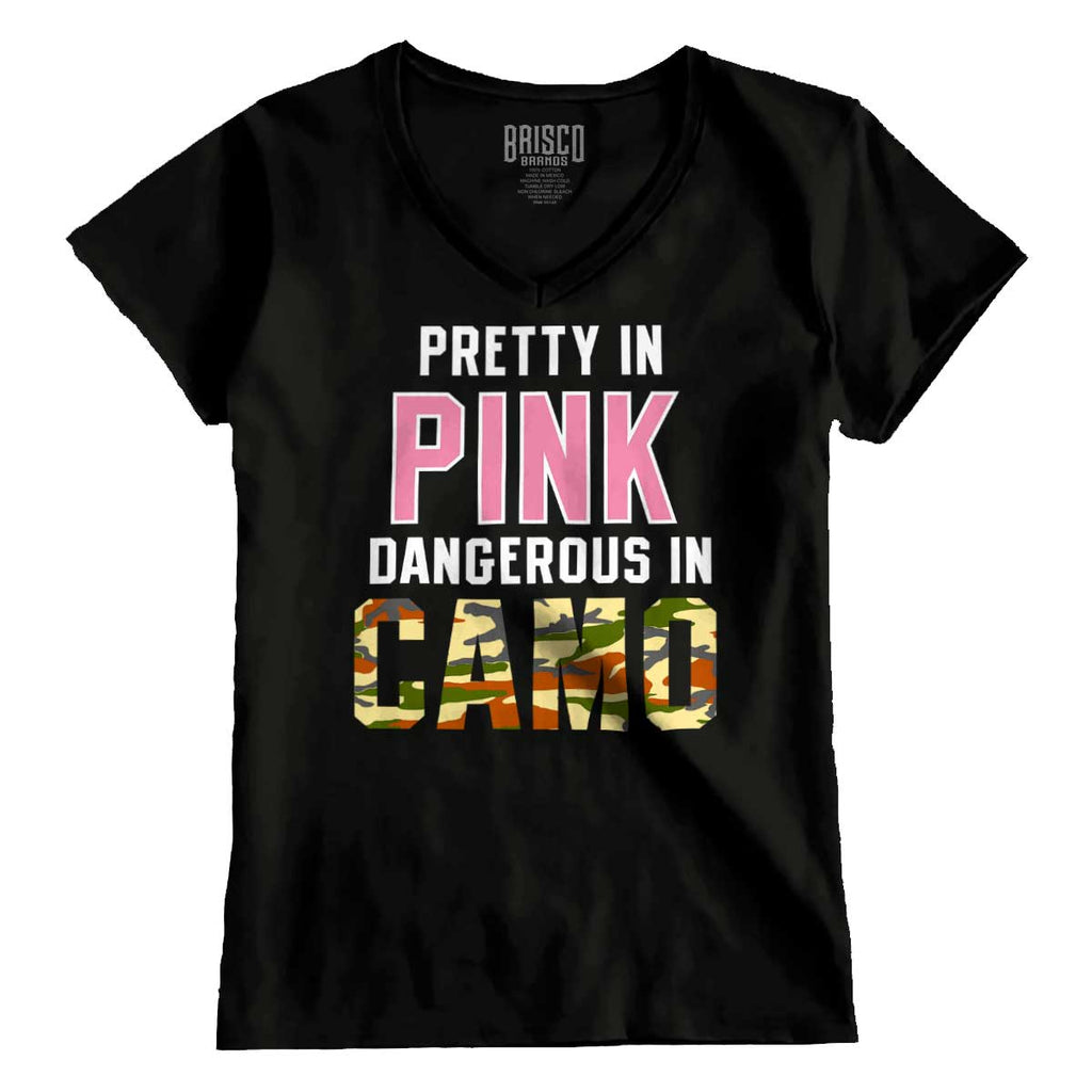 Black|Pretty in Pink Dangerous in Camo Junior Fit V-Neck T-Shirt|Tactical Tees