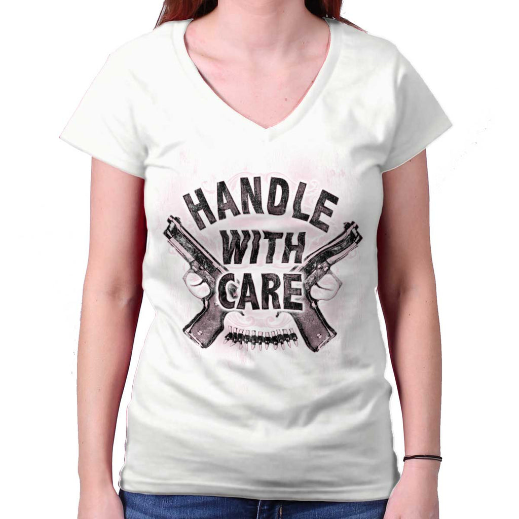 White|Handle With Care Junior Fit V-Neck T-Shirt|Tactical Tees