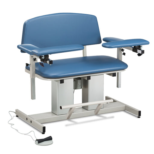 Clinton 6362 Power Series, Bariatric, Blood Drawing Chair with Padded Flip Arm and Drawer - New