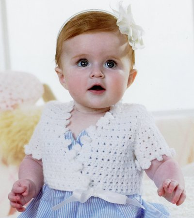 Sirdar Book 411 - The Baby Crochet Book - Design 1298 - Short-Sleeved Ballerina Cardie