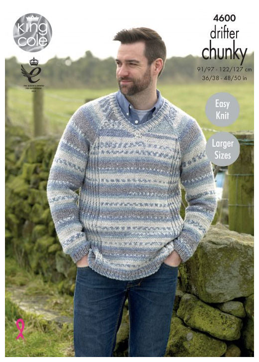 Drifter Chunky Leaflet 4600 - Raglan Pullover with V Neck