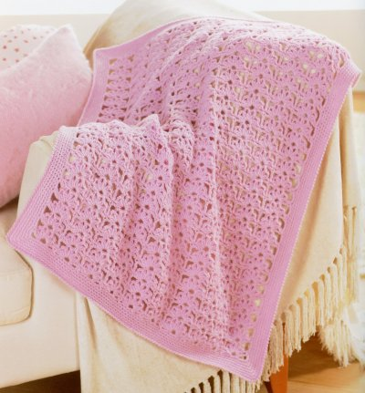 Sirdar Book 411 - The Baby Crochet Book - Design 1298 - Blanket with Flower Pattern