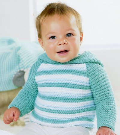 Sirdar Book 411 - The Baby Crochet Book - Design 1296 - Striped Hoodie with Plain Sleeves