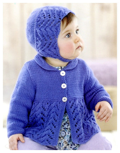 Sirdar Book 507 Snuggly Delights - Design 4709 - Lace & Cable Cardigan with Bonnet