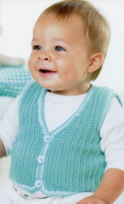 Sirdar Book 411 - The Baby Crochet Book - Design 1295 - Waistcoat