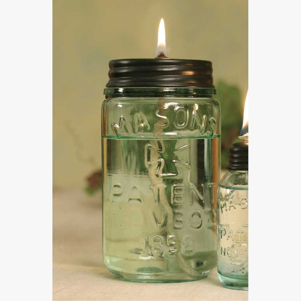 SET OF TWO PINT MASON JAR OIL LAMP
