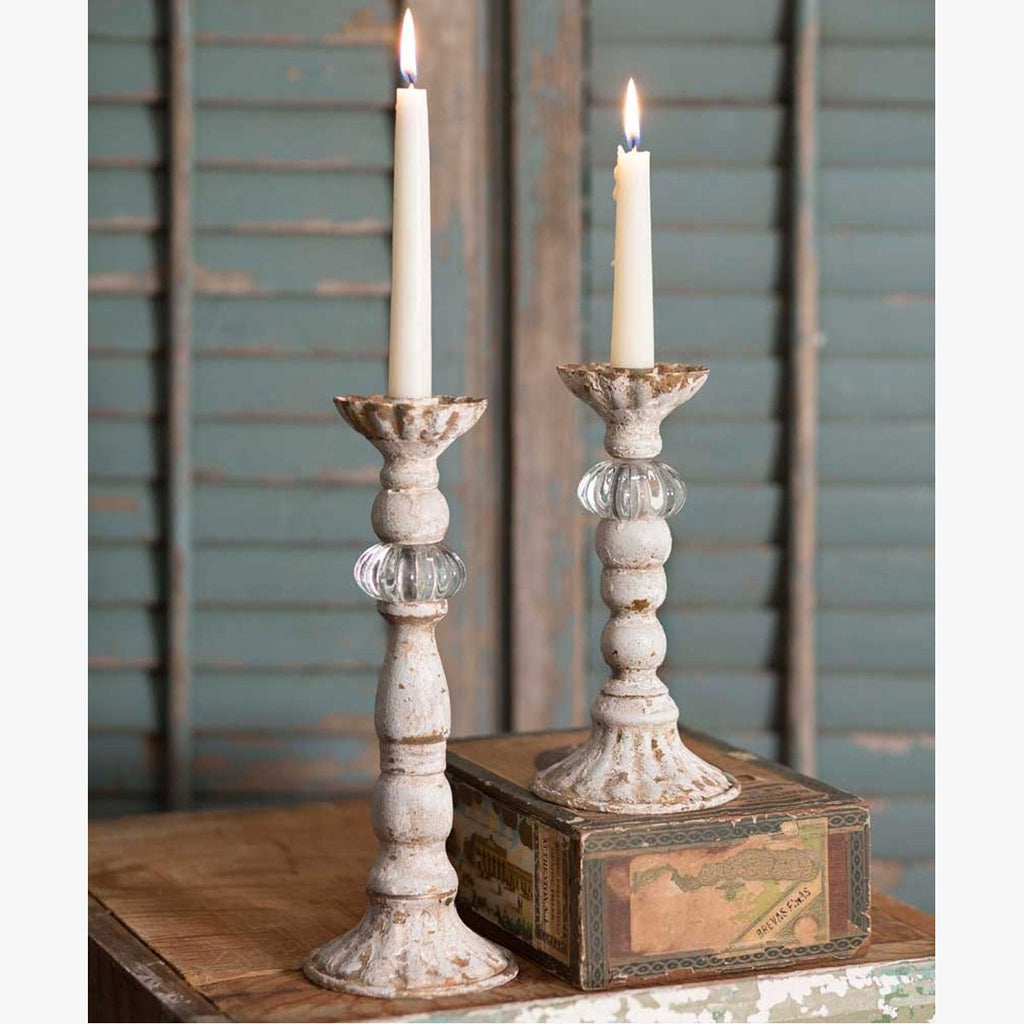 SET OF TWO CHRISSY TAPER CANDLE HOLDERS